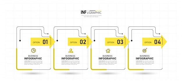 4つのステップのタイムラインインフォグラフィックデザイン