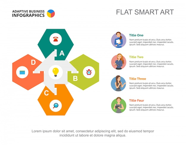 Четыре шага шаблона диаграммы рабочего процесса для презентации. визуализация бизнес-данных.