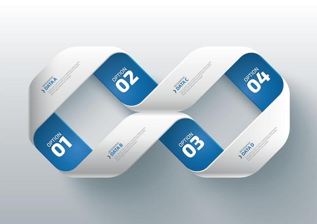 4つのステップのワークフロープロセスインフォグラフィックデザインテンプレートビジネスインフォグラフィックデータの視覚化