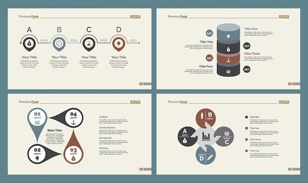 Quattro diagrammi di strategia set di modelli di diapositive