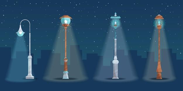Four street lamps on dark night.