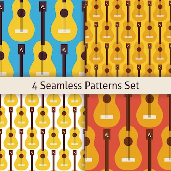 Four string music instrument guitar patterns set. flat style vector seamless texture background. musical template. arts and entertainment. rock and sound. acoustic guitar.