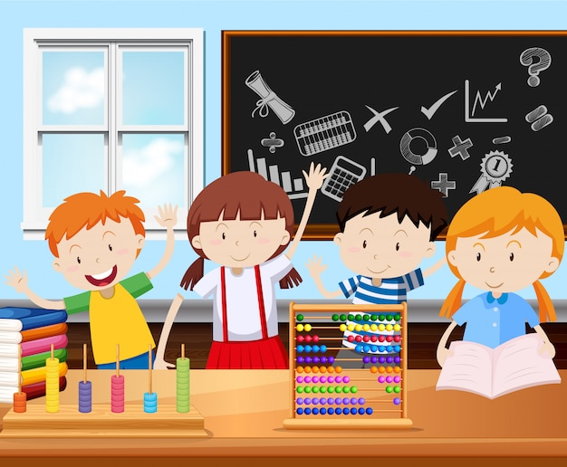 Four students in classroom