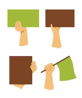 Four style of hands hold a board and flag for the movement activity
