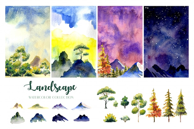 Four style, times of day watercolor landscape paintings with tree, hill and stars