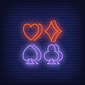 Four suit symbols neon sign