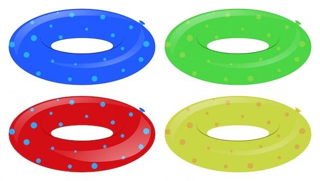 다른 색상의 4 개의 수영 반지