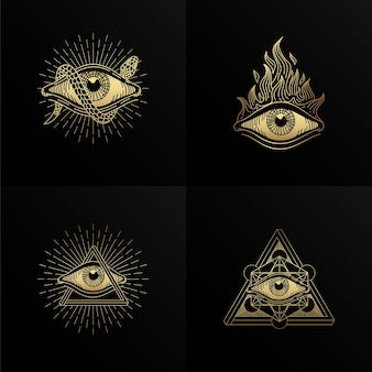 Four symbols of the eye in with engraving