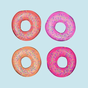 Four tasty yummy colorful sweet delicious donuts on blue background