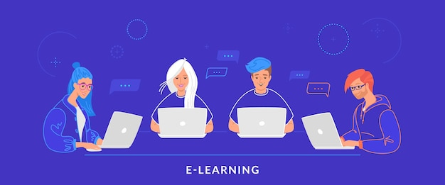 Four teenagers working with laptop at work desk typing on keyboard. flat line vector illustration of e-learning, students studying and online chatting. group of people using laptop on blue background