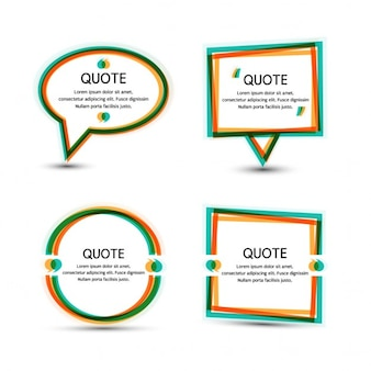 Four text templates with colored lines