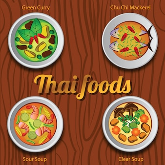 Four thai delicious and famous food