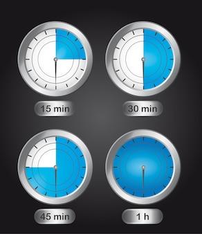 Four timer clock over black background vector illustration