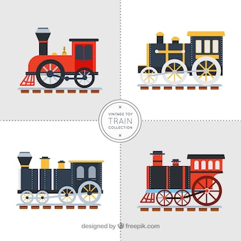 Four train wagons in flat design