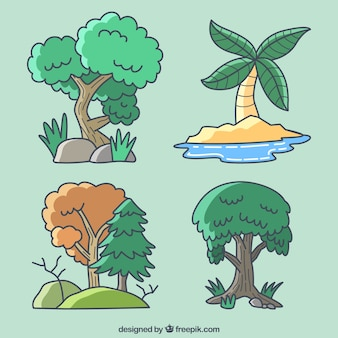 Four trees on a green background