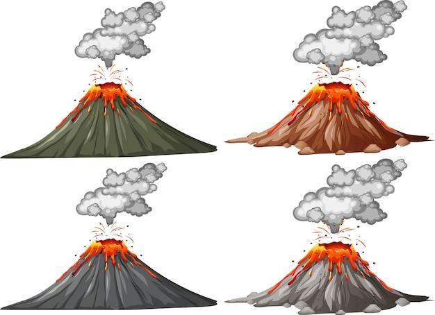 白い背景に分離された4種類の火山噴火
