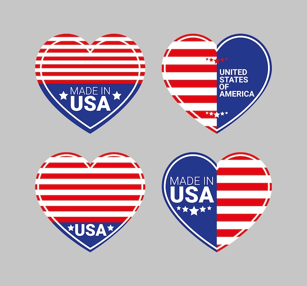 Four usa badges with heart shapes