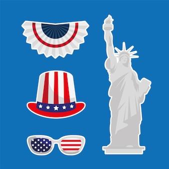 4개의 미국 독립 설정 스티커 프리미엄 벡터