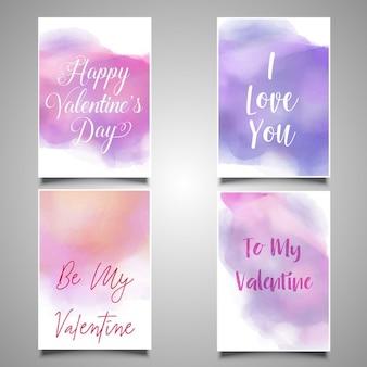 水彩画と四つのバレンタインカード