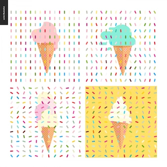 Four various ice cream scoops