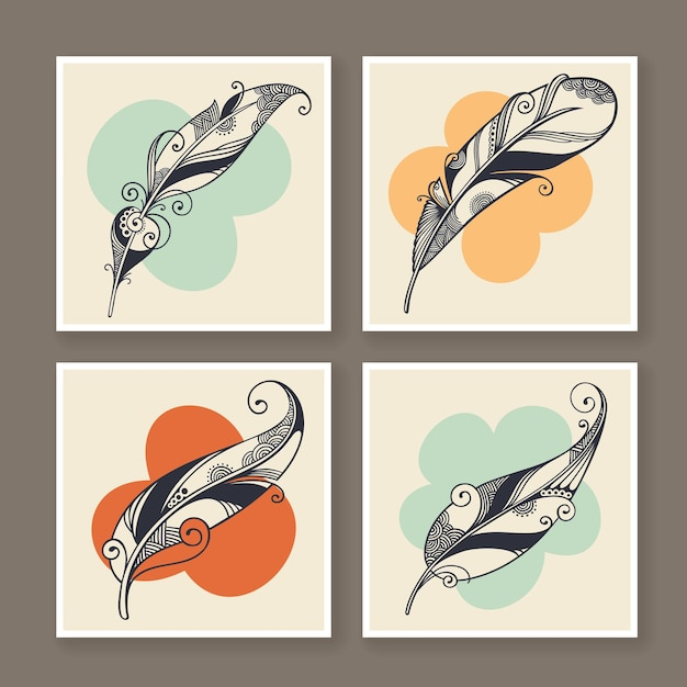 Four vector feather decorative illustration