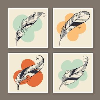 Quattro illustrazione decorativa della piuma di vettore