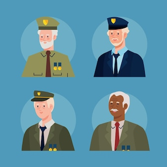 Four veterans characters