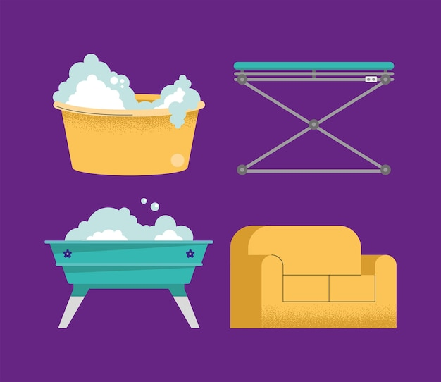 Four washing pets icons