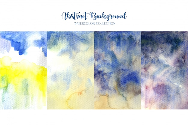 Four watercolor abstract background paintings.