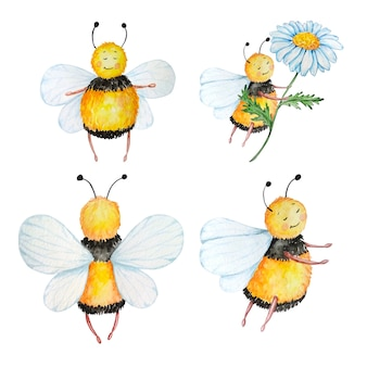 Four watercolor cute black bees with yellow stripes with a camomile