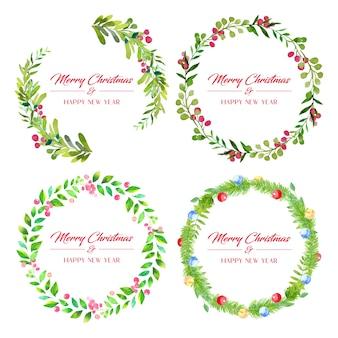 Набор из четырех акварельных зеленых рождественских венков