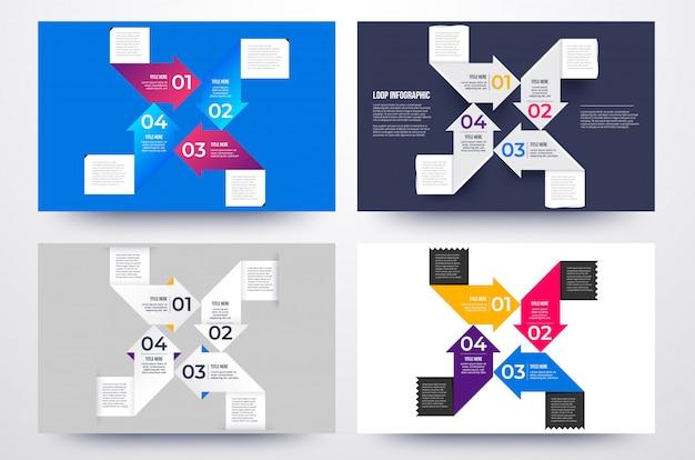 프리젠 테이션을위한 인포 그래픽 비즈니스 솔루션의 네 가지 방법.