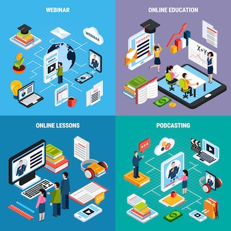 Four webinar isometric icon set