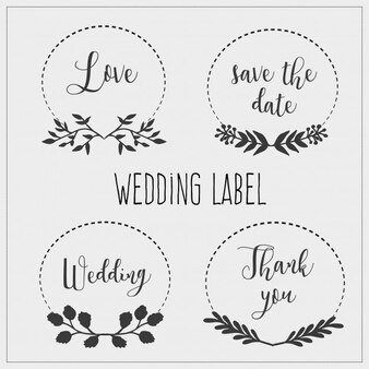 Four wedding label collection