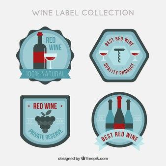 レトロスタイルの4つのワインステッカー