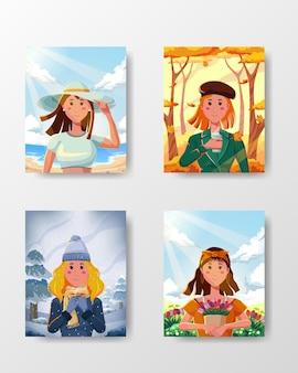 다른 계절, 여름, 가을, 겨울, 봄에 활동과 행복 일러스트레이션 컨셉으로 세련된 패션을 가진 4명의 여성