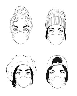 4人の女性が使い捨ての医療用サージカルマスクで顔を出し、大気汚染の激しい都市から保護します。ベクトルイラスト線画