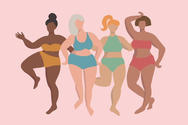Four women with different skin tones and hair colors in bathing suits