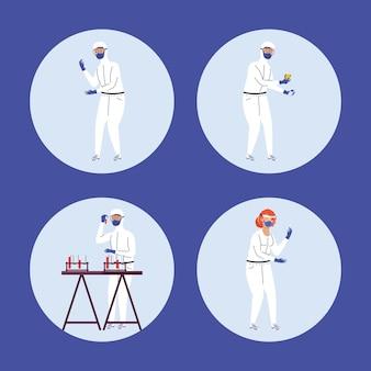 Четыре рабочих персонажа, тестирующих ковид