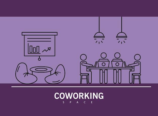 노트북 coworking 선 스타일 일러스트 디자인 테이블에 4 명의 노동자