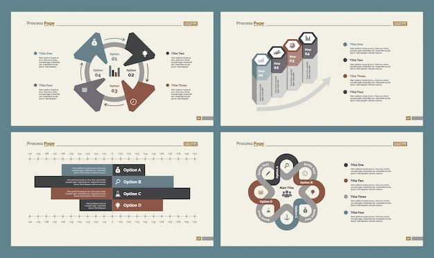 Four workflow charts slide templates set