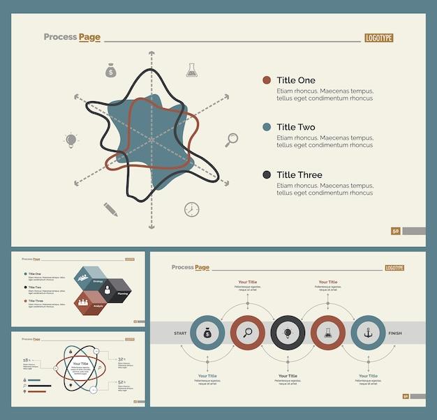 Set di quattro modelli di diapositive di flusso di lavoro