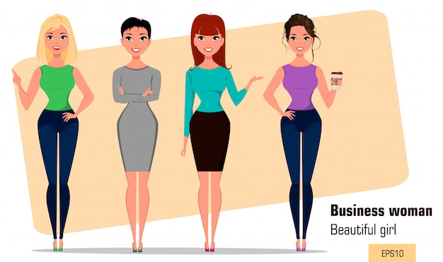 Four young cartoon businesswomen. set