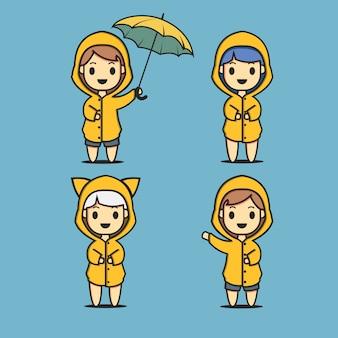 Four young men wearing raincoats