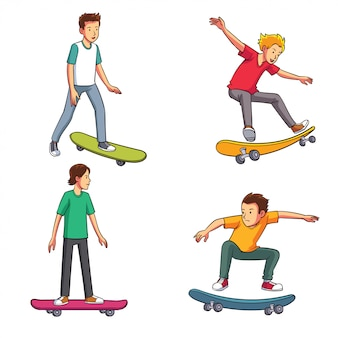 Four young men with several styles of skateboarding
