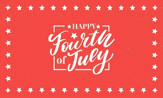 Четвертое 4 июля стильный дизайн на день независимости сша четвертое июля Premium векторы