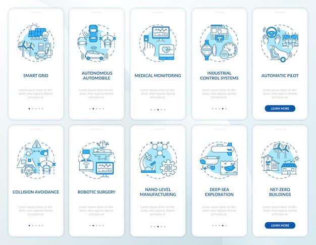 개념이 설정된 4 차 산업 혁명 온 보딩 모바일 앱 페이지 화면. cps 구현 연습 단계. rgb 색상의 ui 템플릿