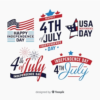 Fourth of july badge collection Premium Vector