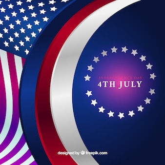 Fourth of july composition with flat design