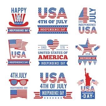 Fourth of july independence day logo set.